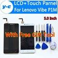 Para lenovo vibe p1m 100% nueva pantalla lcd + pantalla táctil de cristal digitalizador asamblea panel para lenovo vibe p1m 1280x720 hd 5.0nch