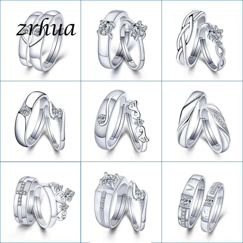 ZRHUA คุณภาพสูง Original 925 Sterling Silver แหวนผู้ชายผู้หญิงทุกวันนิ้วมือ Anel อุปกรณ์เสริมเงินสเตอร์ลิง - เครื่องประดับ bague