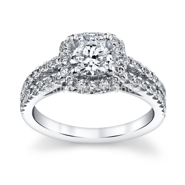 Center 1 Carat Lab Grown Diamond Halo Ring For Girls Solid ...