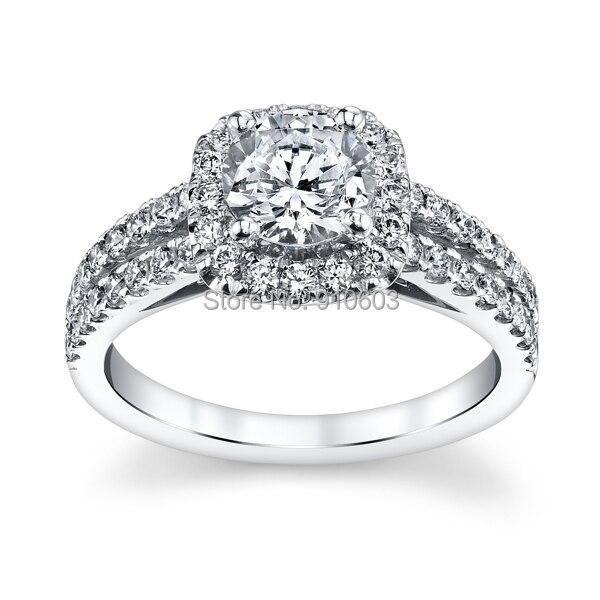 Center 1 Carat Lab Grown Diamond Halo Ring For Girls Solid 9k White