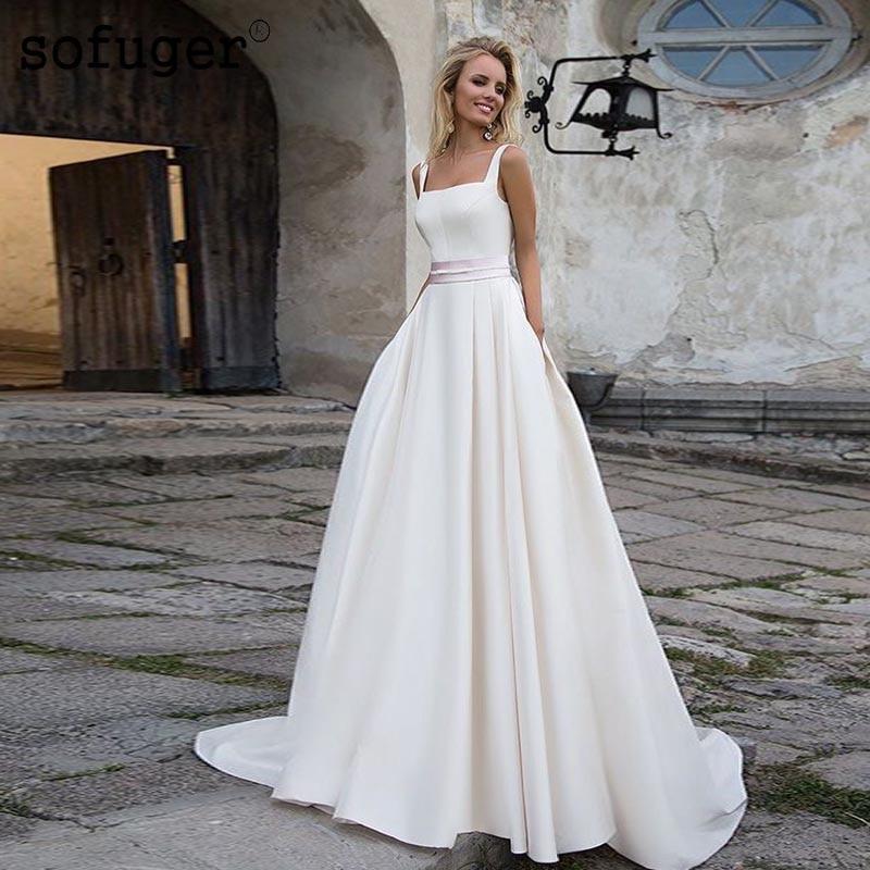 White Wedding Dresses Square Collar Satin Backless Bridal Gown Wedding Vestidos De Noivas Custom