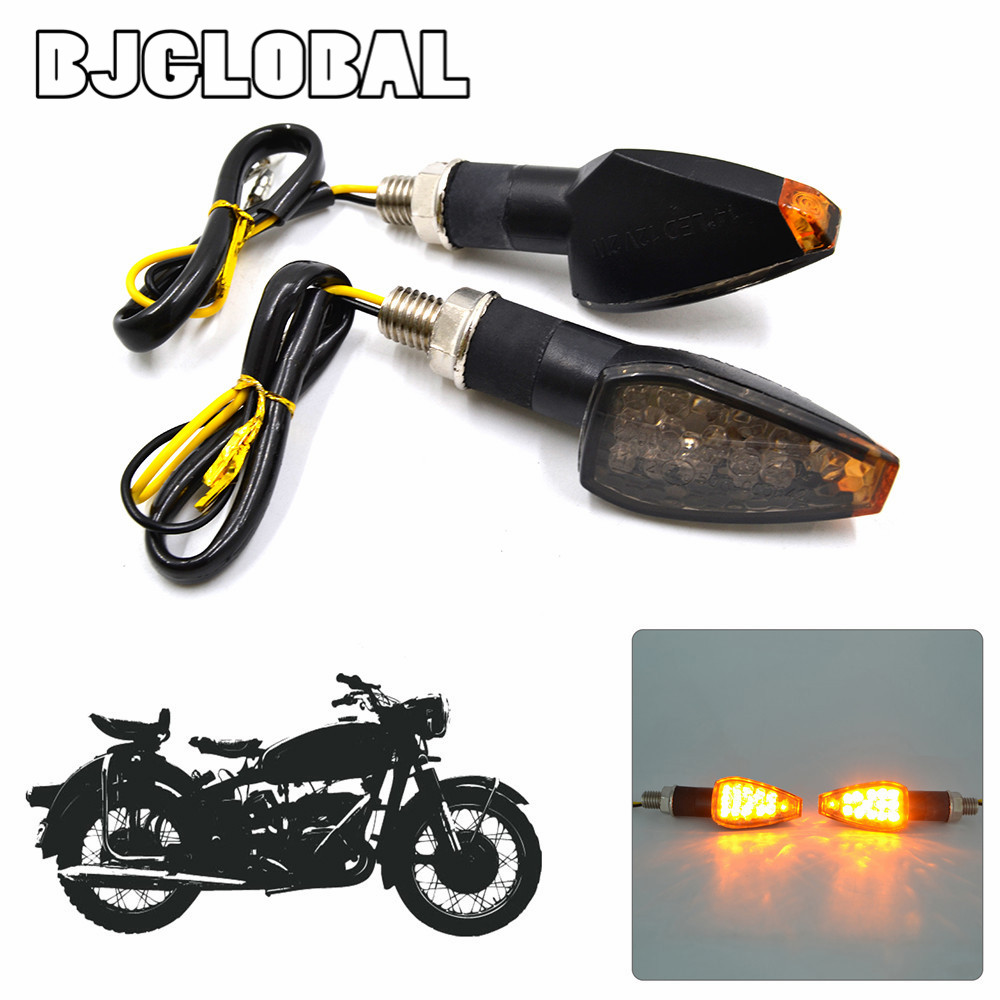 BJGLOBAL 2Pcs 12V Motorcycle LED Turn Signal Light Smoke Len Blinker Side Maker For Harley Honda Yamaha Kawasaki Suzuki Motors