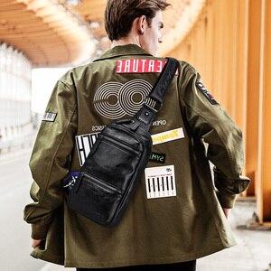 Image 3 - LIELANG Chest bag leather men brand bag casual multi function 2019 new fashion men bag shoulder messenger men chest bag leather