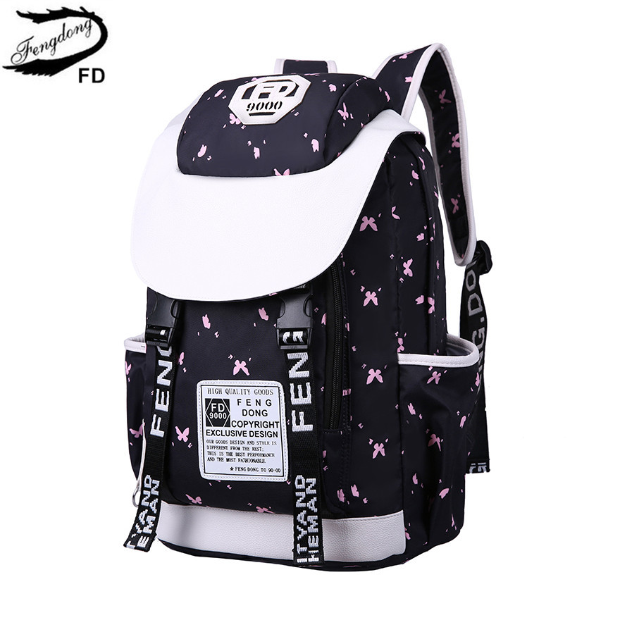 FengDong female cute large school backpack women travel bags fashion laptop backpack 15.6 school bags for teenage girls gift fengdong brand female laptop backpack women travel bags high school backpack for girls black and white waterproof chest bag set
