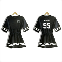 BTS summer dress cotton short sleeve black white dress women dresses optional 6 characters
