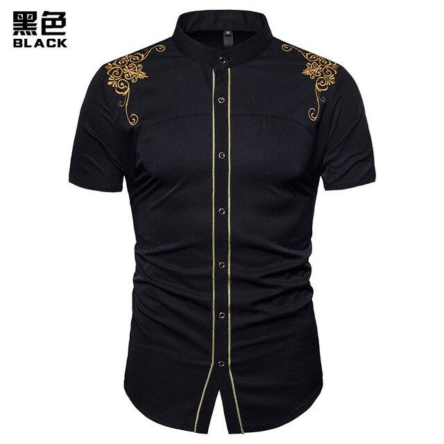 1828218427d2 FFXZSJ camisa bordada de vestido dos homens manga curta slim fit casual  corte bordado colarinho da Havaiana