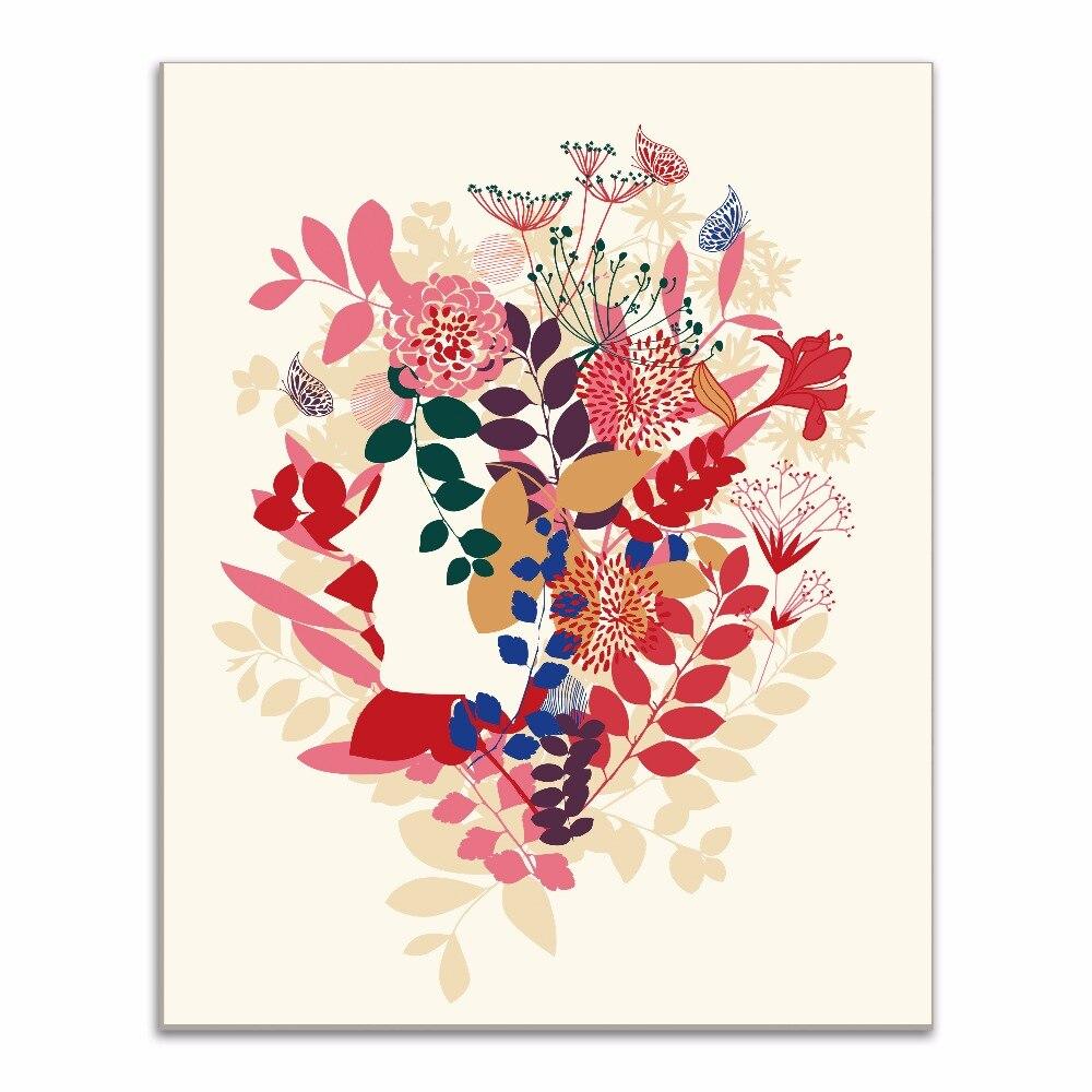 Flowers Fancy Beautiful Girl Canvas Art Print Painting Poster Pop