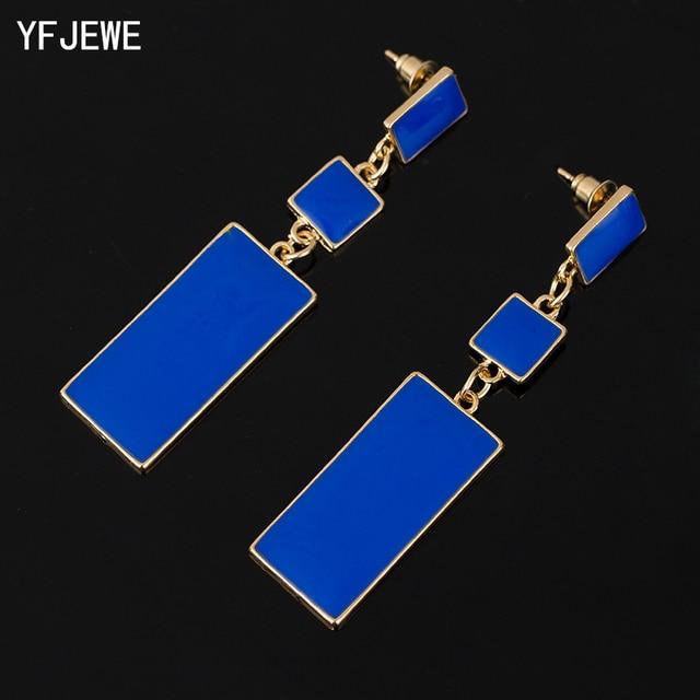 Fashion Design Geometry Gold Color 4 Color Alloy Blue Enamel Drop Earrings For W