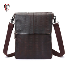 TIANHOO Crossbody bag flap oil- wax cow leather man shoulder simple fashion casual bags for men cell phone / PAD wallets
