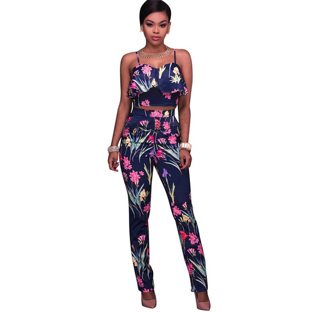 New Fashion 2 Piece Ruffles Print Floral Jumpsuits Women Summer Casual Elegant Rompers Womens Jumpsuit Sexy Overalls