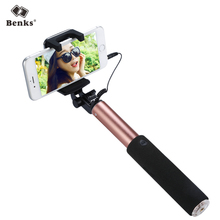 Benks Magic Wired Selfie Stick with Rearview Mirror, Universal Handheld Extendable Monopod Mount for iPhone Samsung 4″-6″ Phones