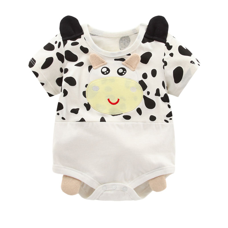 Newborn Baby Cotton   Rompers   Retail 1piece Milk Cow Lovely Panda Baby Costume Soft cotton Short Sleeve Infant Baby Jumpsuits