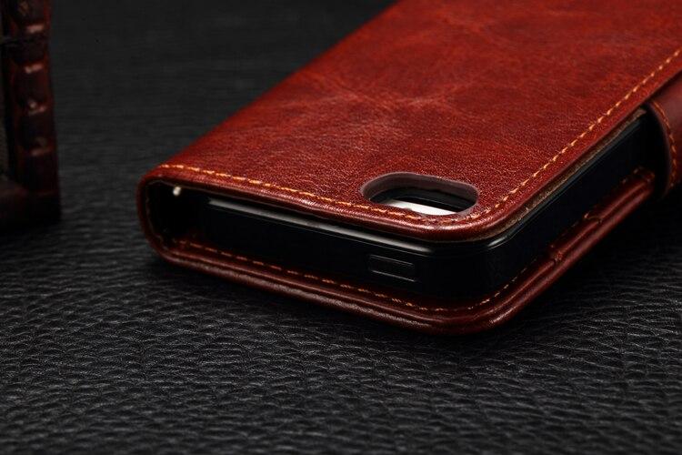 For iphone 5 6 6S 5s 6sPlus SE 6Plus 7 7plus Leather Flip Cover Luxury Retro Case Silicon TPU Casing Bag Pure Fundas Holder