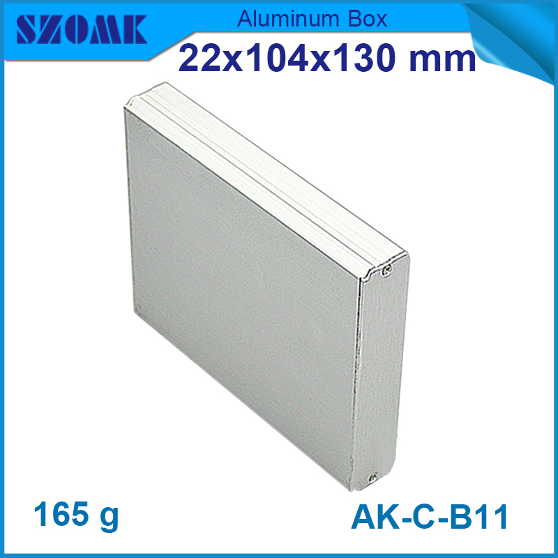 1 piece free shipping silver color anodizing powder coating szomk diy aluminum extruded enclosure 22(H)x104(W)x130(L) mm free shipping silver l