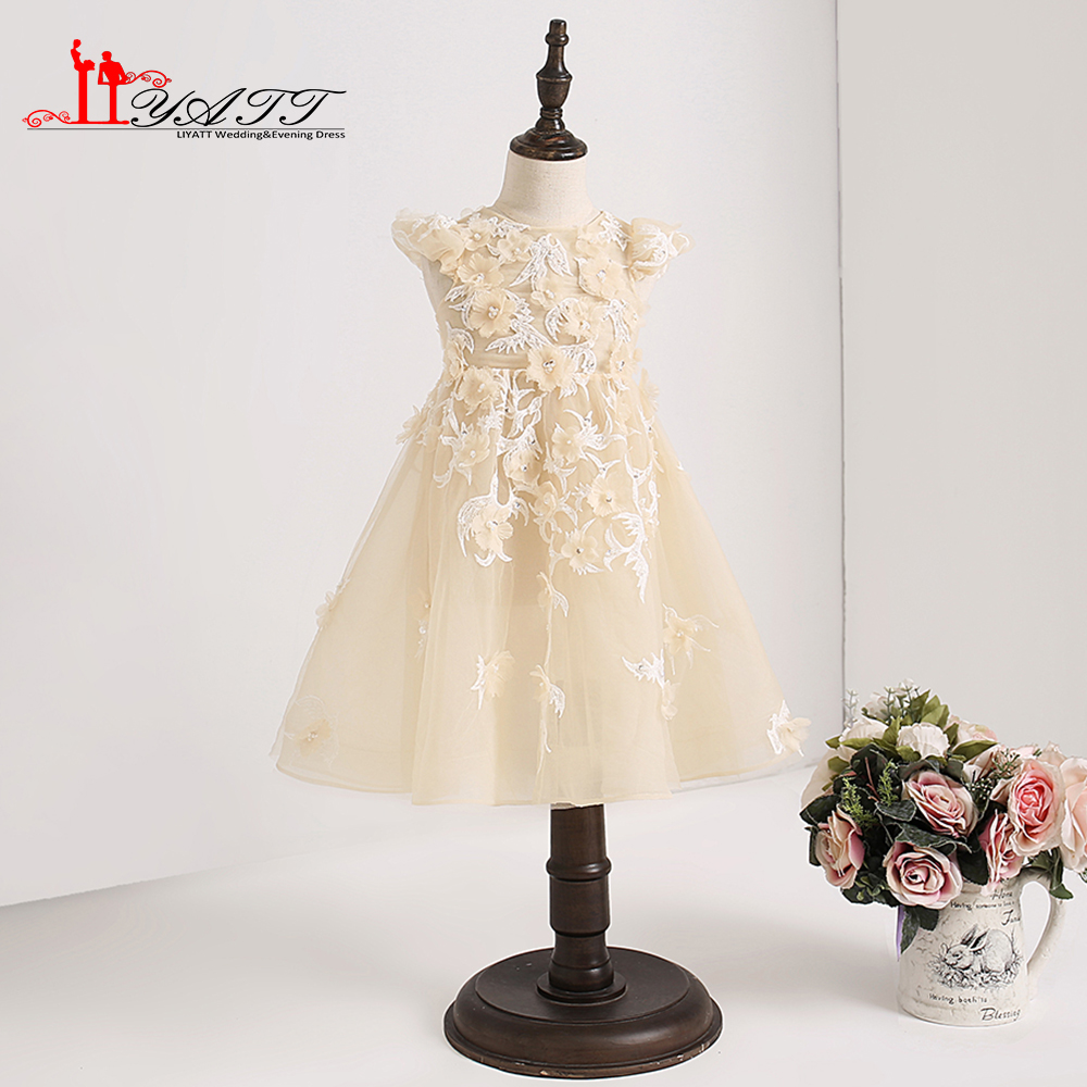 2018 Custom Made   Flower     Girl     Dress   Sheer Lace O-neck Champagne Princess Sleeves Cute Pageant Communion   Dresses