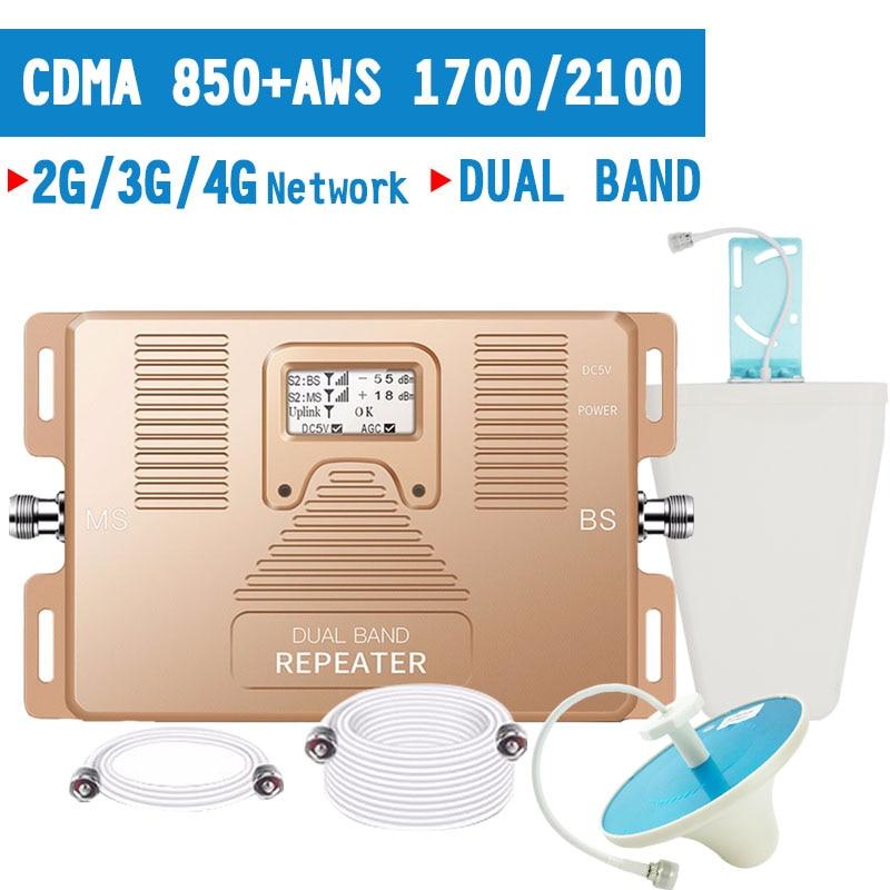 Walokcon 2G 3G 4G amplificateur de Signal CDMA 850 LTE 1700 MHz répéteur de Signal de téléphone portable 70dB Gain 4G LTE amplificateur bande 5 bande 4 ensemble
