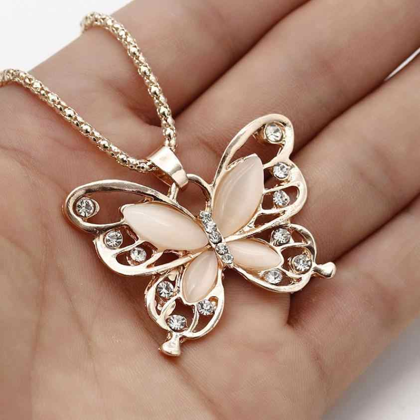 Flawless Women Lady Necklace Choker Pendientes Rose Gold Opal Butterfly Pendant Exquisite Necklace Sweater Chain Oorbellen