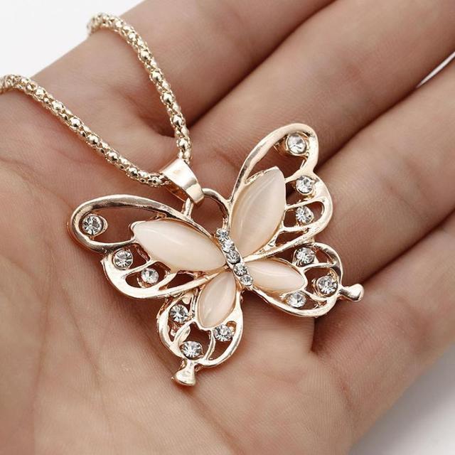 Collar de mujer impecable gargantilla Pendientes oro rosa Opal mariposa colgante collar exquisito suéter cadena Oorbellen