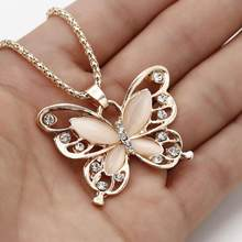 Flawless Women Lady Necklace Choker Pendientes Rose Gold Opal Butterfly Pendant Exquisite Necklace Sweater Chain Oorbellen(China)