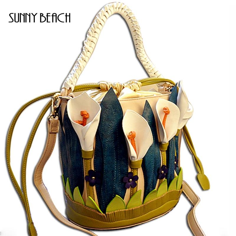 ФОТО Unique vivid Three dimensional flower bag women handbag pu leather barrel bag floral bucket bag