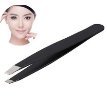 1 pcs Professional Stainless Steel Slant Tip Hair Removal Eyebrow Tweezer Makeup