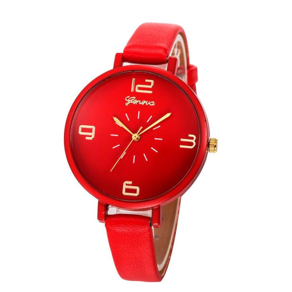 Timezone #401 Geneva Brand Simple Design Watches Women New Fashion Casual Faux Leather Quartz Wrist Watch Ladies Clock otoky geneva quartz women watch fashion faux ceramic watches casual quartz watch skull dress ladies wrist watches 30 gift 1pc