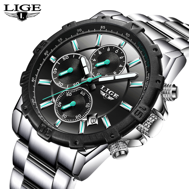 Relogio Masculino LIGE Mens Watches Top Brand Luxury Business Quartz Watch Men Stainless Steel Casual Waterproof Sport Watch Man new lige brand men s watches sport waterproof quartz watch men stainless steel business clock man wristwatches relogio masculino