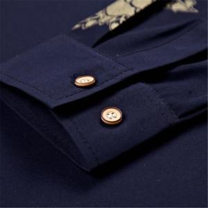 Image 5 - VISADA JAUNA גברים חולצות 2017 חדש אביב סתיו ארוך שרוול Slim Fit חולצות גברים מקרית הדפסת חולצת גבר שמלת 4XL גדול גודל N6606