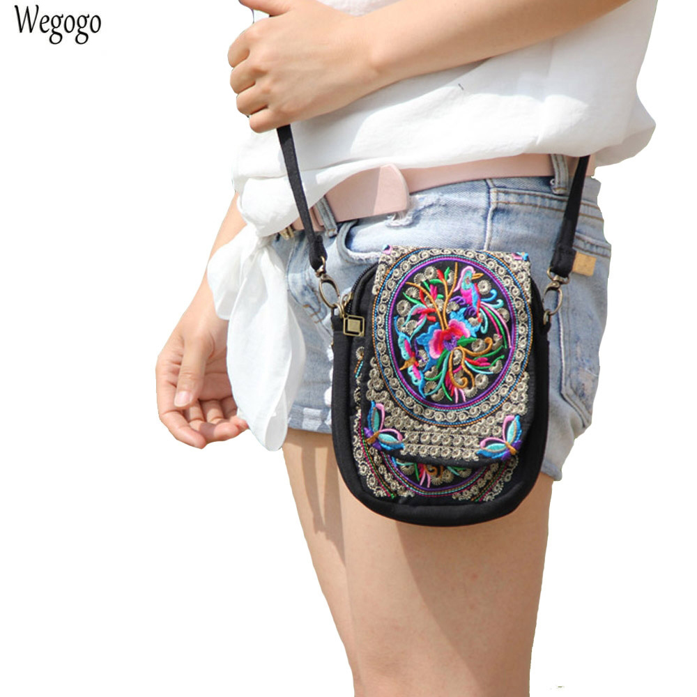 Boho Ethnic Embroidery Bag Vintage Embroidered Canvas Cover Shoulder Messenger Bags Women Small font b Coins