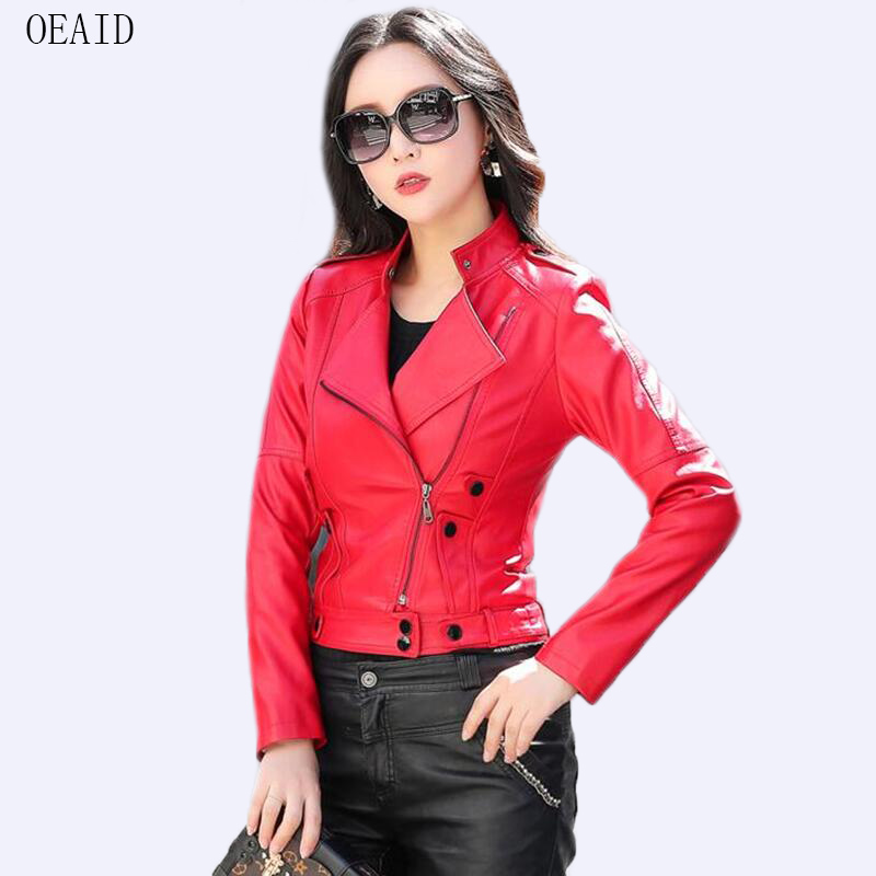 OEAID Fashion Plus Size 3XL Motorcycle   Leather   Jacket Women   Leather   Coat 2019 New Ladies Jackets And Coats Outerwear