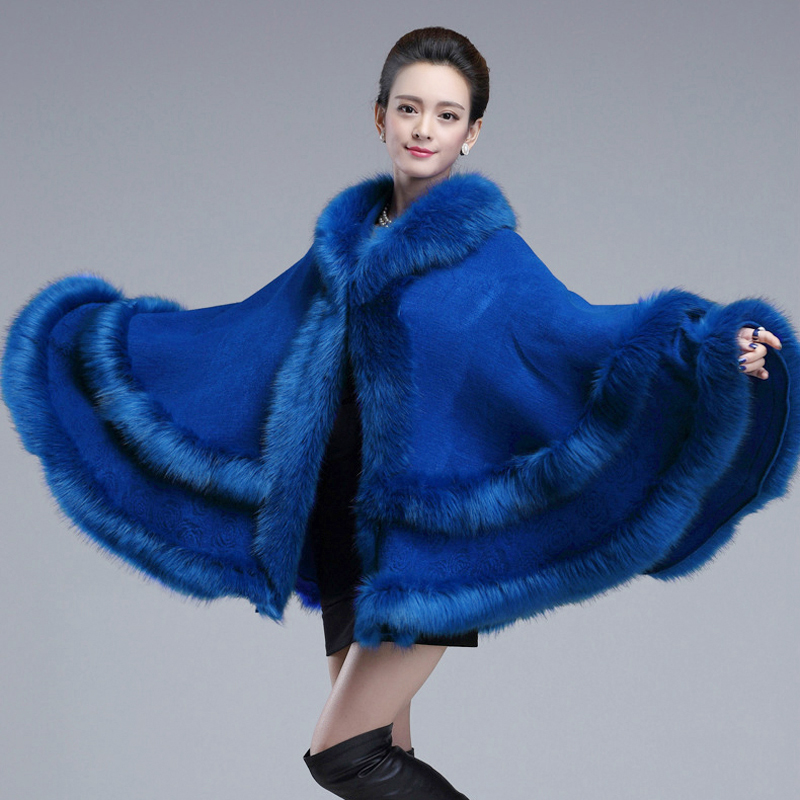 Winter New Fashion Women Double Fur Coat Cape Hooded Cashmere Faux Fox Fur Pashmina Sweater Knitwear Shawl Cloak Cap 1kg