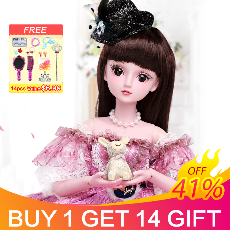 UCanaan 23 6 Inch BJD Dolls with 19 Ball Joints SD Doll Clothes Outfit Shoes Wig
