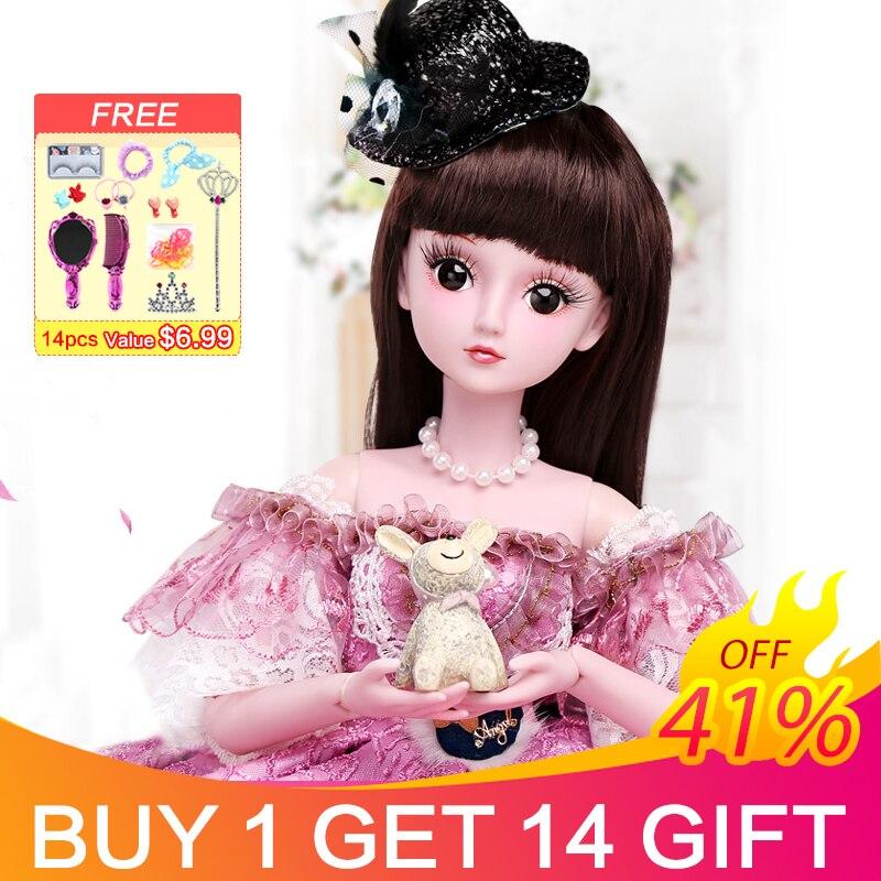 UCanaan 23.6 pouces BJD poupées avec 19 Joints à billes SD poupée vêtements tenue chaussures perruque maquillage pour filles cadeau et poupées Collection