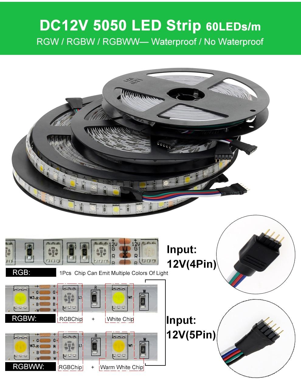 HTB12p1MeRKw3KVjSZTEq6AuRpXaE 5050 LED Strip RGB / RGBW / RGBWW 5M 300LEDs RGB Color Changeable Flexible LED Light + Remote Controller + 12V 3A Power Adapter