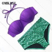 OMKAGI Brand 2017 Women Strapless Bikinis Set High Waist Bikinis Women Purple Top Green Fish Scales