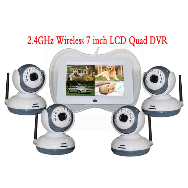 2.4Ghz Wireless 4CH 4 Picture Display 7 Inch IR Night Vision Wireless Baby Monitor
