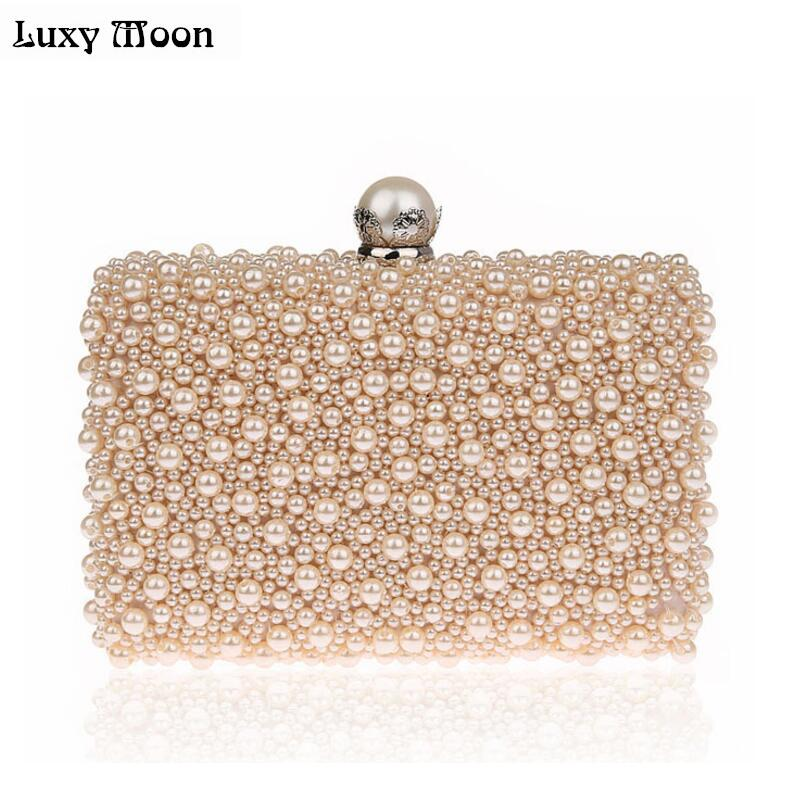 LUXY MOON Full Pearls Evening Bags Beaded Day Clutches Wedding Bride Mini Handbag Elegant Party Bag Chain shoulder bags tote retro 2017 floral beaded handbag women shoulder bags day clutch bride rhinestone evening bags for wedding party clutches purses