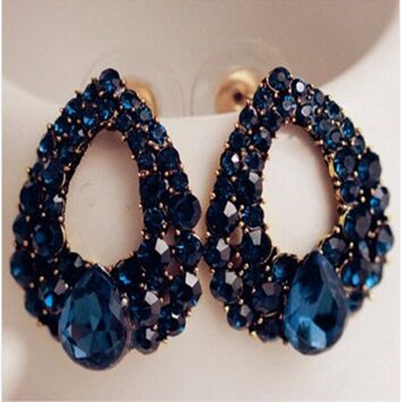2015 Natural stone fashion black Blue big earrings jewelry Brincos gold sapphire earrings For girls summer style pendientes