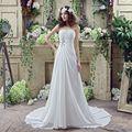 Bajo 100 En Stock Barato Plisado Gasa de Marfil Vestido de Novia Sin Tirantes de Vestidos de Boda Rebordear Simple White Beach Wedding Dresses