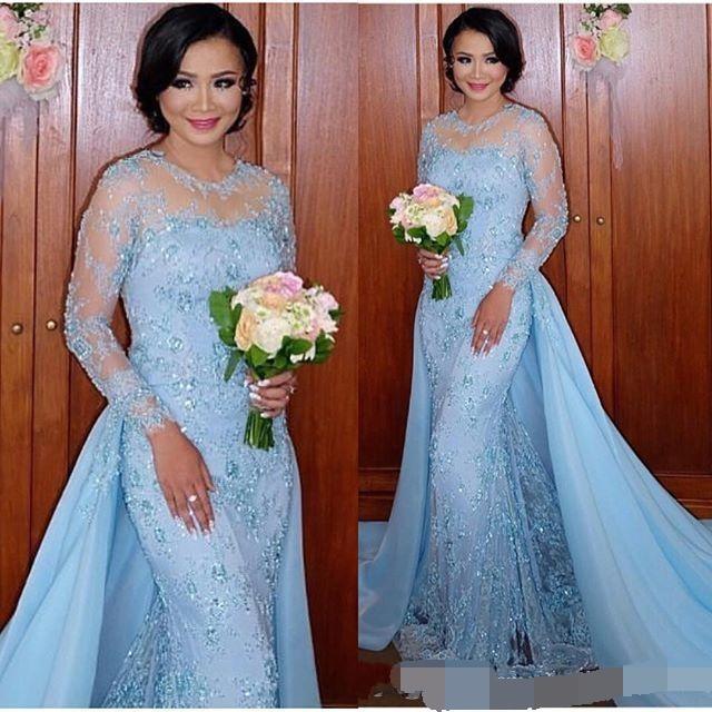 2019 bleu clair manches longues sirène robes de soirée Appliques dentelle formelle robes de soirée avec jupe détachable Vestidos arabe