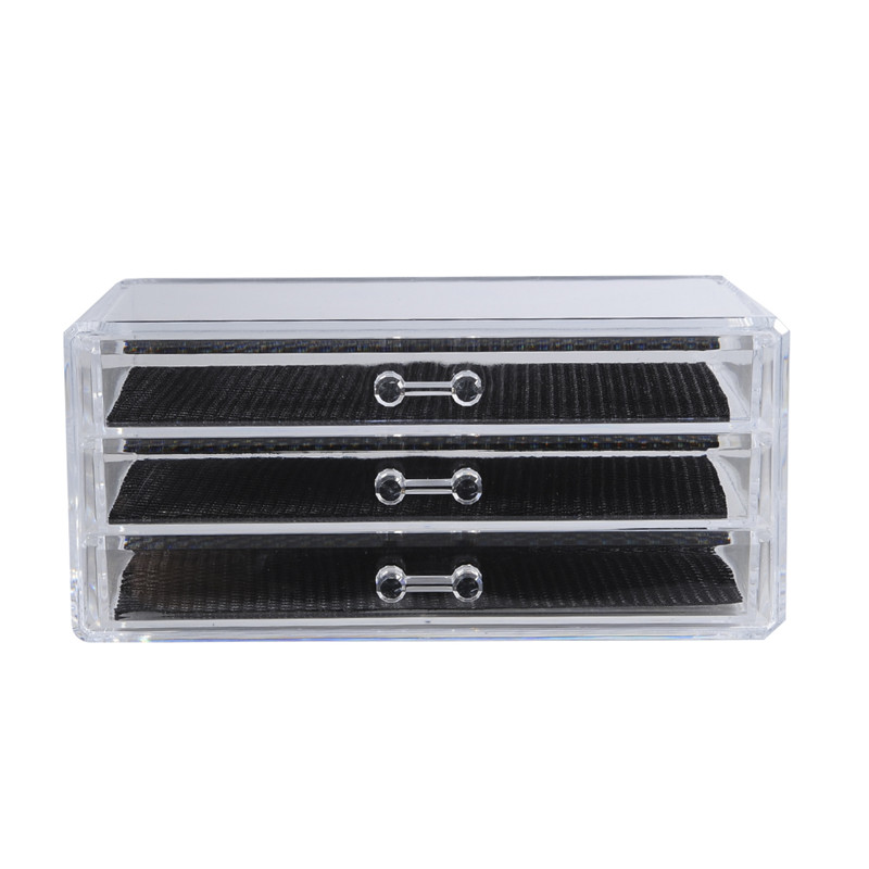 1 Pcs Transparent <font><b>Acrylic</b></font> Make Up <font><b>Organizer</b></font> 3 <font><b>Drawers</b></font> Storage Box Clear Cosmetic Storage Box <font><b>Organizers</b></font> image