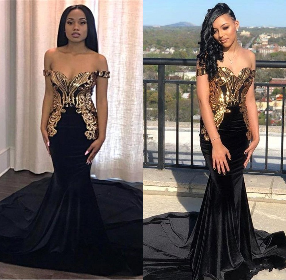 Off The Shoulder Mermaid Black   Prom     Dresses   2019 Gold Applique Sequin   Prom   Party Gown Black Girls Formal Party Evening Gowns