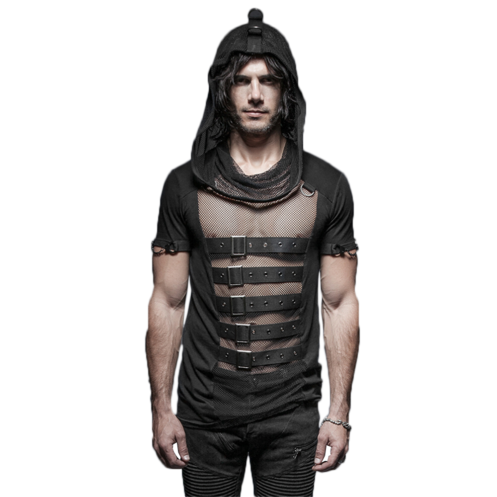 Steampunk Mens T Shirts Gothic Slim Cotton T Shirts Punk Vintage Hollow Out Belt Short Sleeve Hooded Mesh T Shirts Male