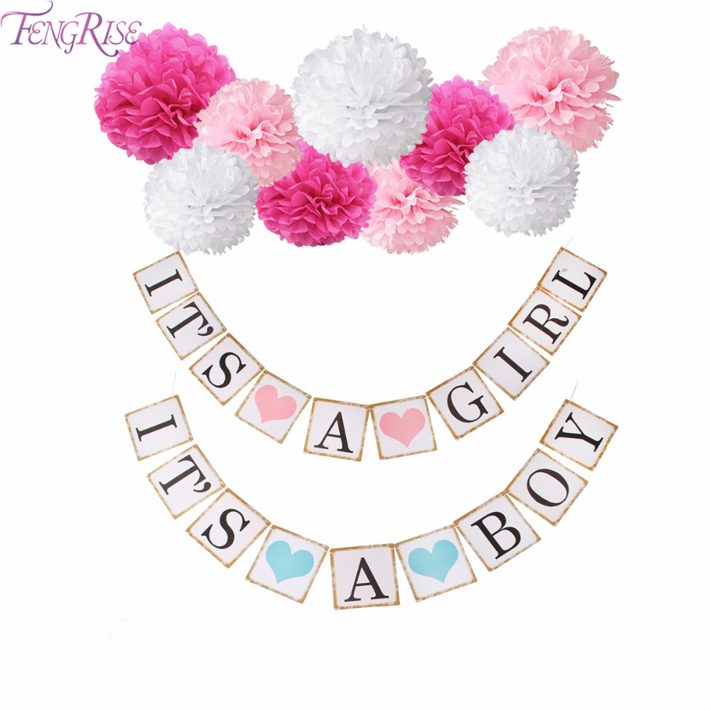 Fengrise Its A Boy Pink Girl Baby Shower Banner 1st