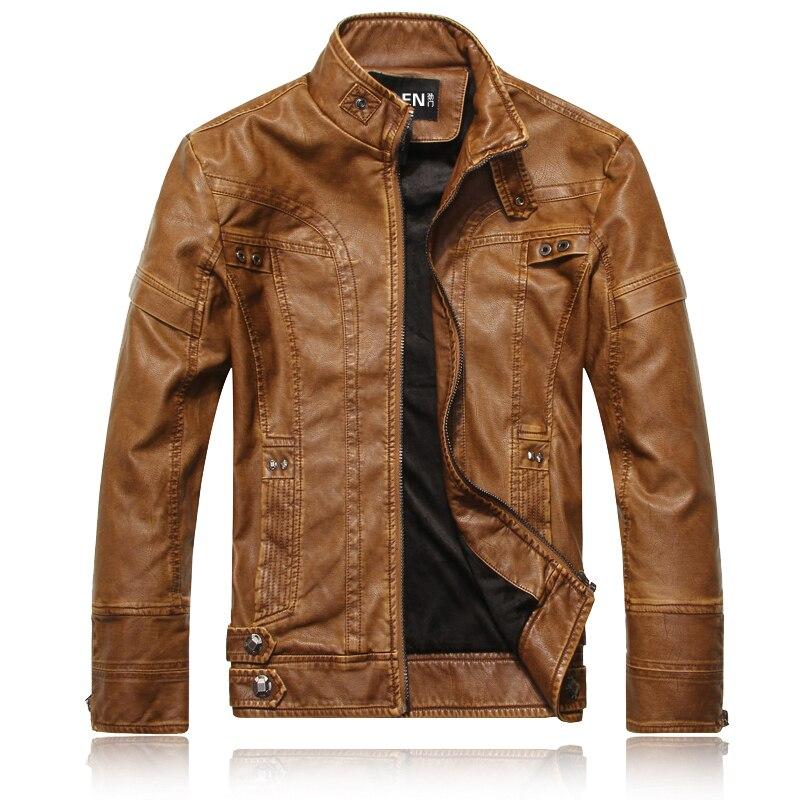DHfinery invierno chaqueta de cuero de los hombres de pie delgado - Ropa de hombre - foto 2