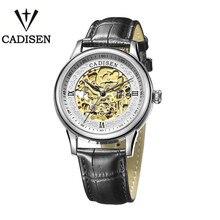 Cadisen Alta Calidad Libre Caja de Relojes de Primeras Marcas de Lujo Ganador Esqueleto Reloj Automático Correa de Cuero Movimiento Suizo Reloj de Los Hombres
