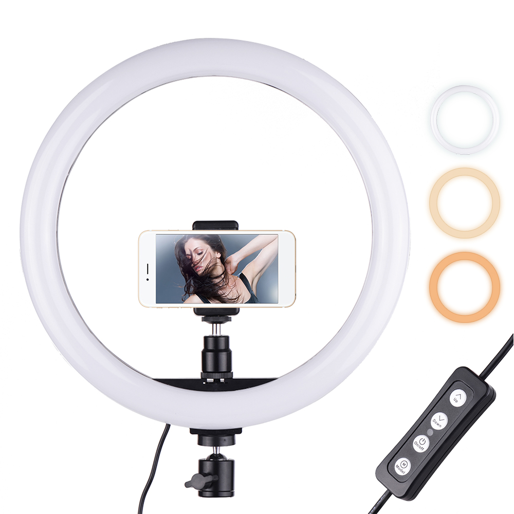 Led Live Stream Fill Light Mobile Phone External Ring Light with Stand and Cell Phone Holder Kit Stepless Dimming Portable Shooting Equipment