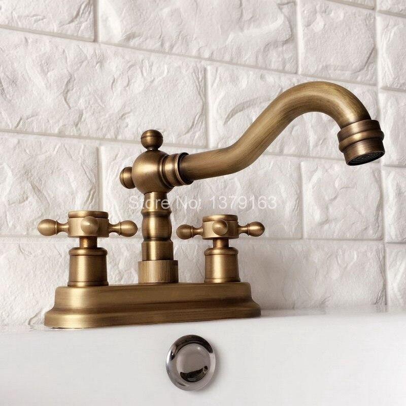 Antique Brass 4 Centerset Kitchen Bathroom Vessel Sink Two Holes