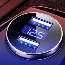 Мини быстрое зарядное устройство двойное автомобильное usb-устройство для зарядки телефона 5 в 3.1A со светодиодный дисплей Универсальное зарядное устройство для телефона для iPhone samsung Xiaomi
