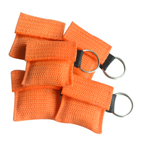 50Pcs/Lot CPR Resuscitator Mask Keychain CPR Face Shield Emergency Rescue Kit For First Aid CPR/AED With Orange Pouch Wraped